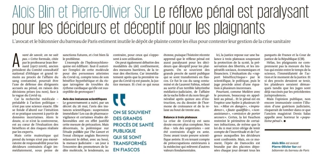 Article Le Monde Mardi 16 juin 2020